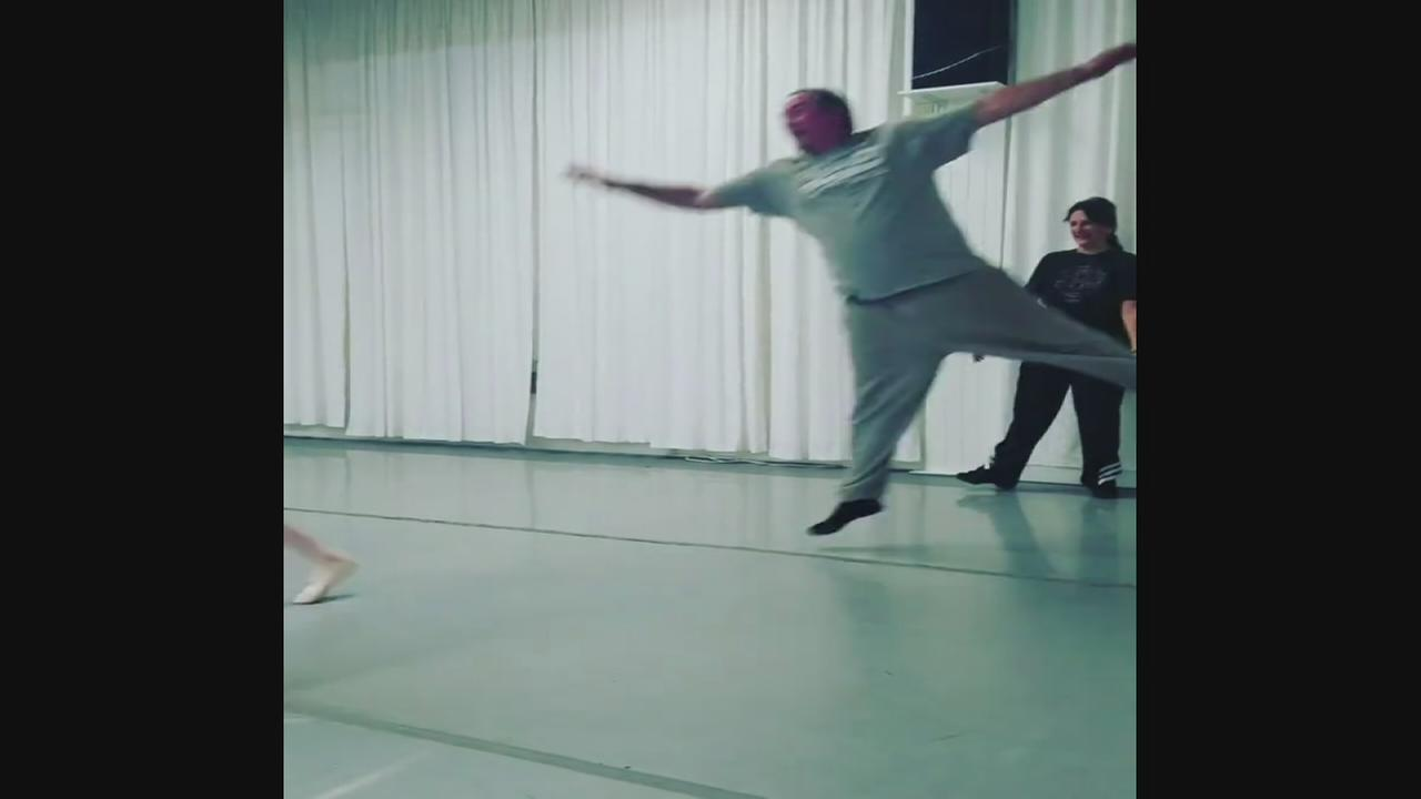 Dads take ballet class with kid dancers