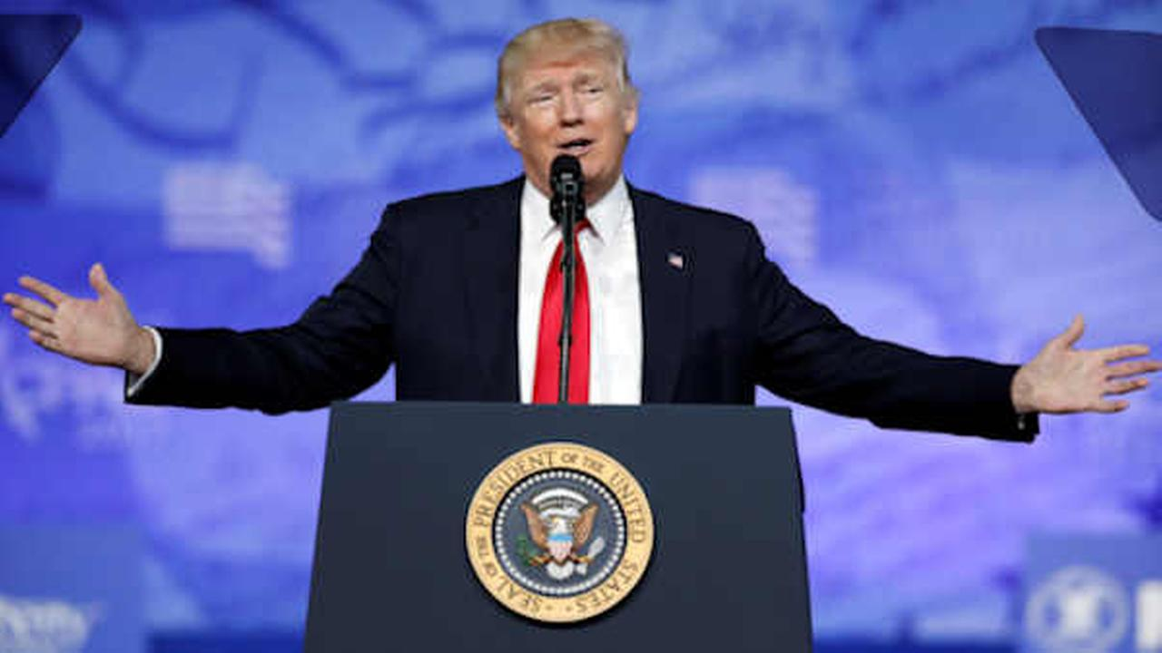 President Donald Trump speaks at the Conservative Political Action Conference (CPAC), Friday, Feb. 24, 2017.  (AP Photo/Alex Brandon)