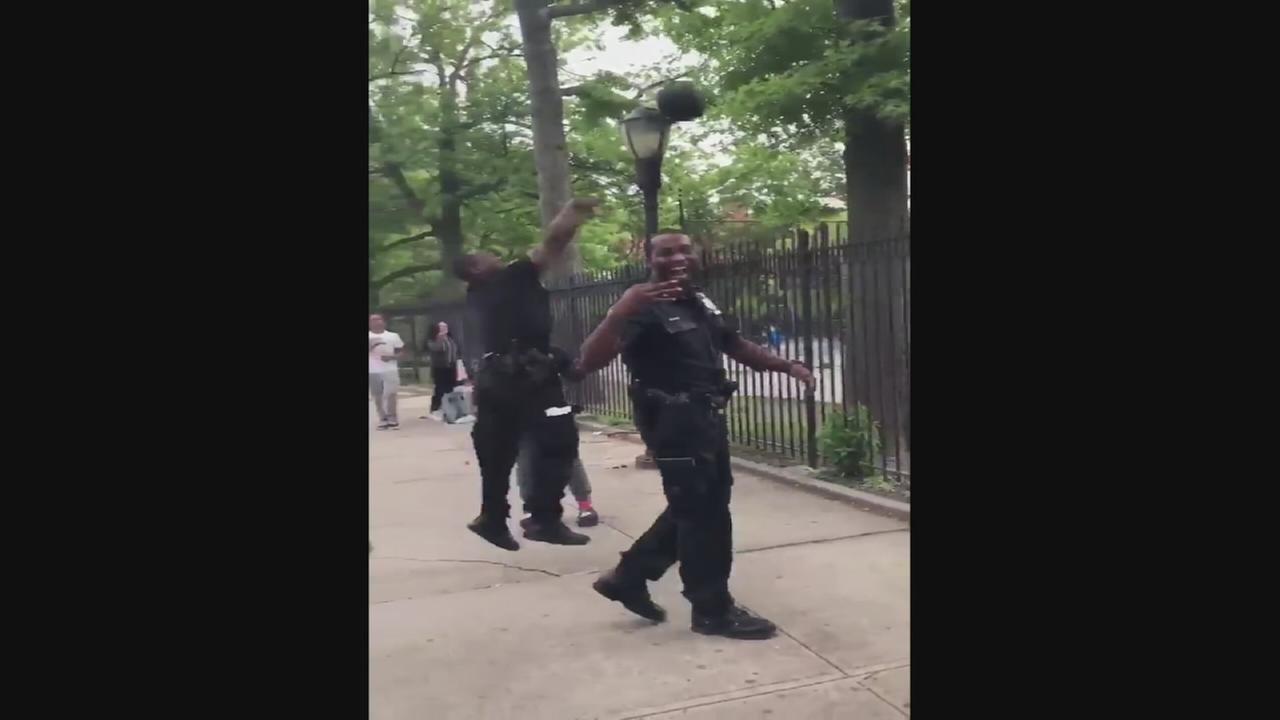 NYPD officer has the basketball moves