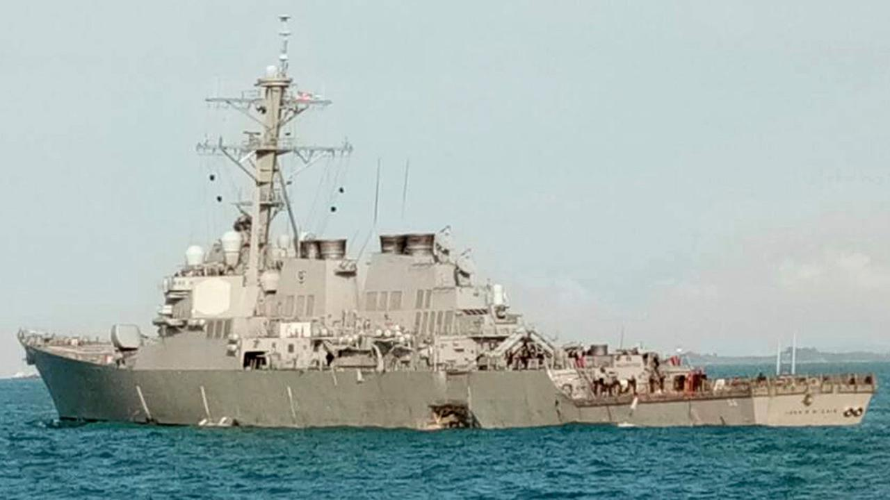 In this photo released by the Royal Malaysian Navy, the U.S guided-missile destroyer USS John S. McCain is seen after a collision, off Johor, Malaysia, Monday, Aug. 21, 2017.