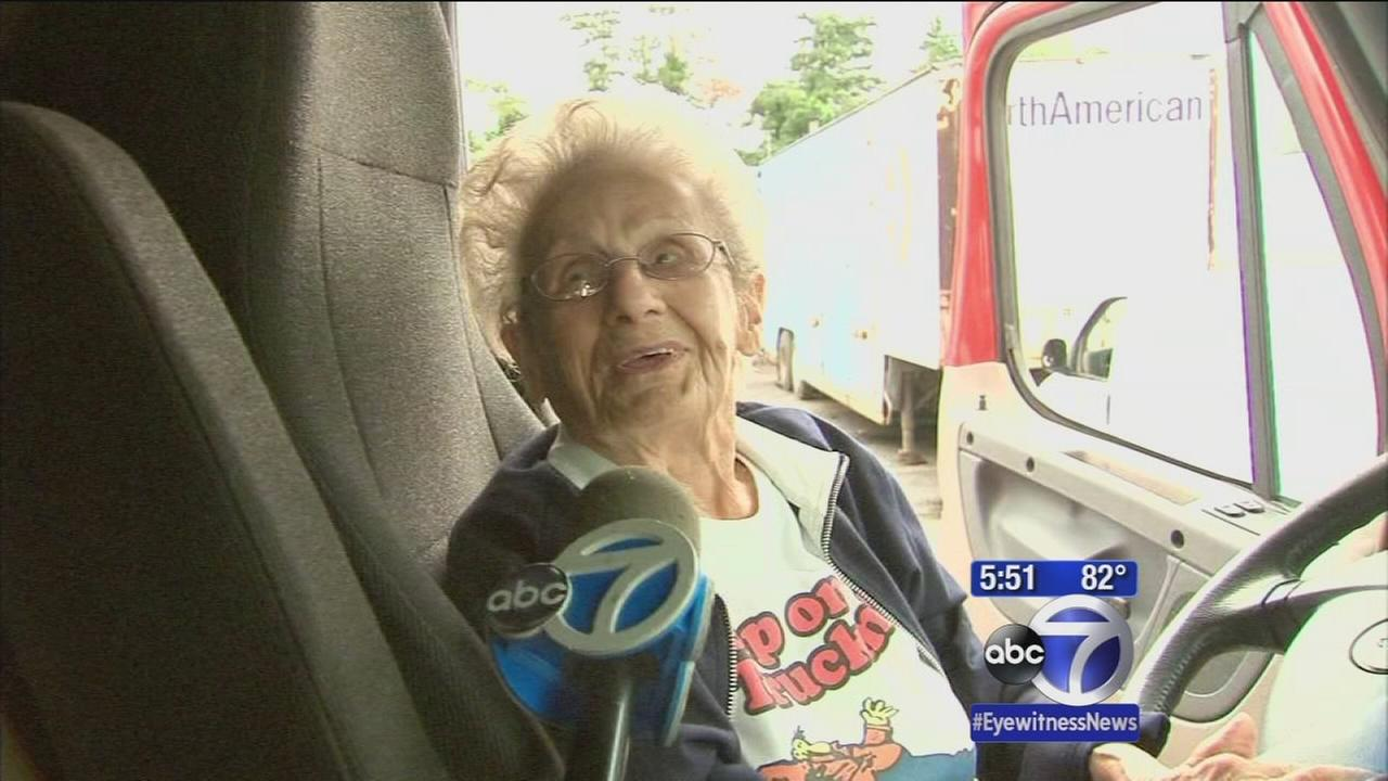 97-year-old woman fulfills dream of driving a big rig