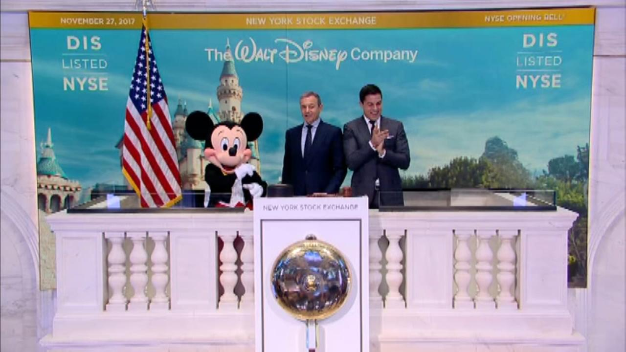 Disney CEO and Mickey Mouse ring opening bell