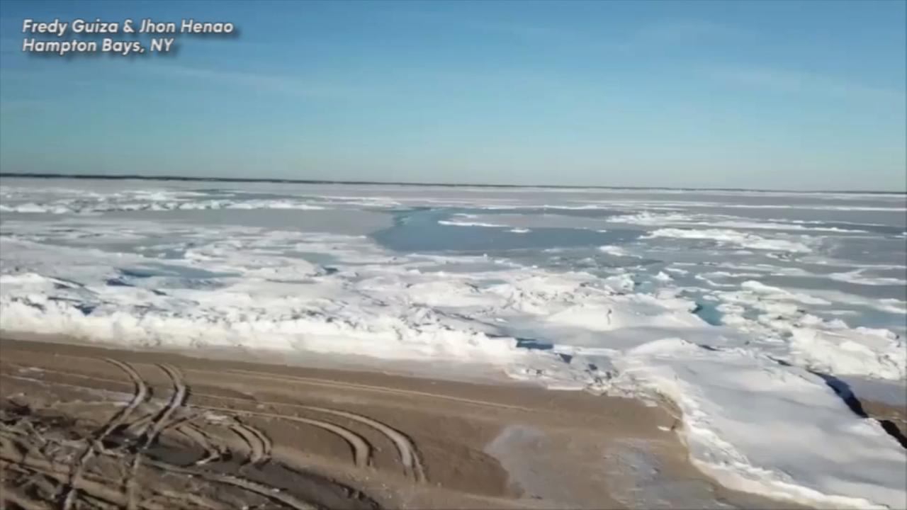 Drone video shows frozen Hampton Bays