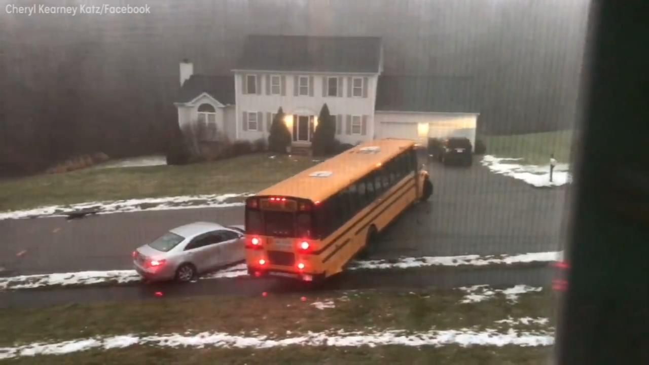 Bus with 29 kids aboard skids out of control, crashes