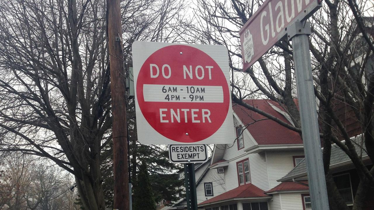A do not enter street sign stands in Leonia, N.J., where local officials are trying to reduce traffic congestion on their way to the nearby George Washington Bridge into New York.