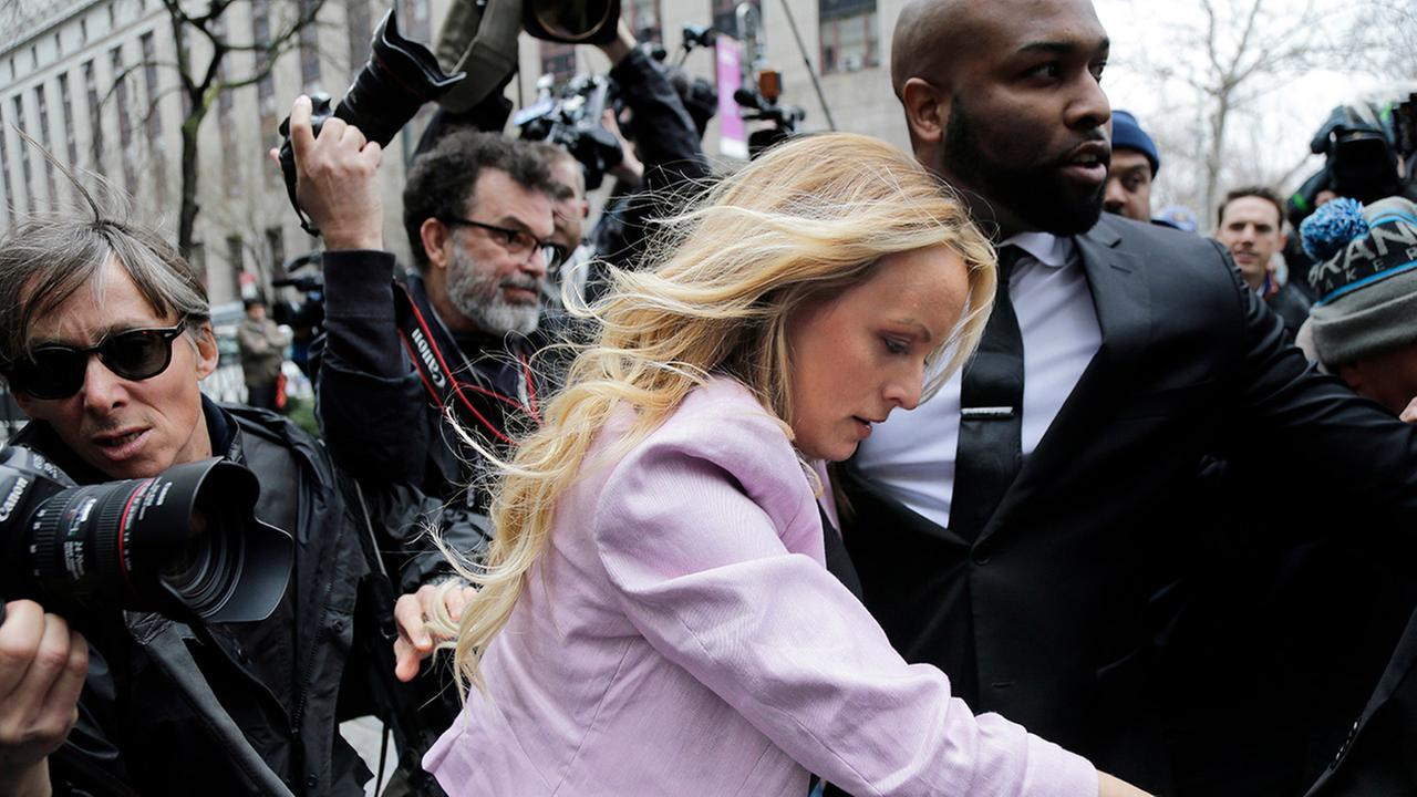 Stormy Daniels arrives at federal court in New York, Monday, April 16, 2018