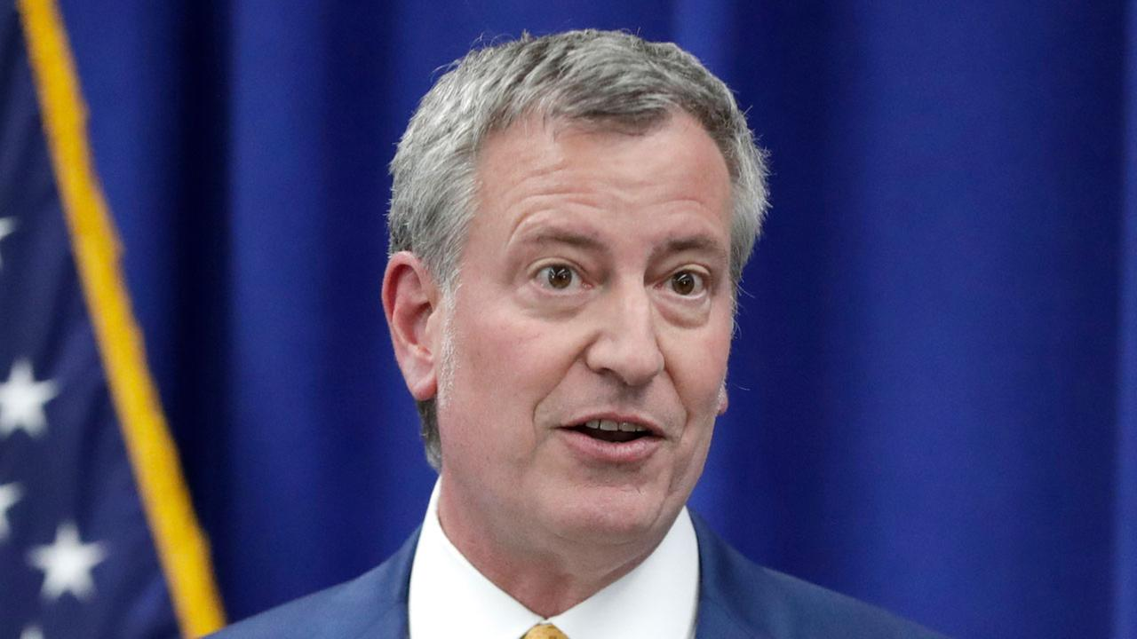 New York City Mayor Bill De Blasio speaks during a news conference Tuesday, May 1, 2018, in Newark, N.J.