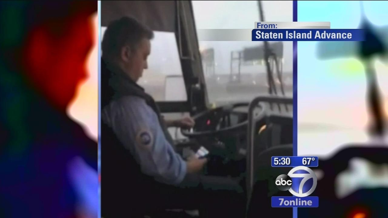 MTA bus driver caught texting while driving