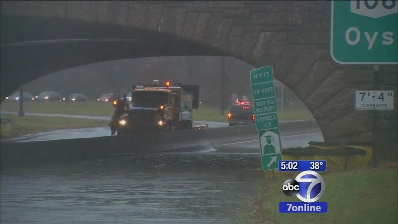 Storm leads to flooded roads on Long Island