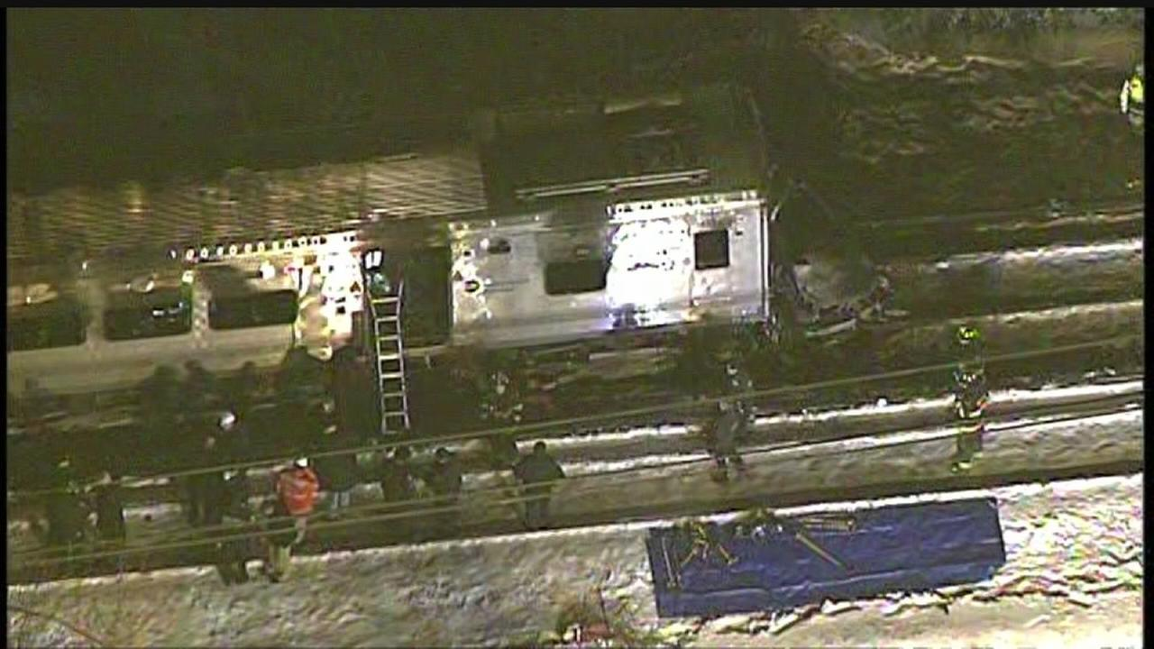 Newscopter 7 over the scene of the Metro North crash with Jeep