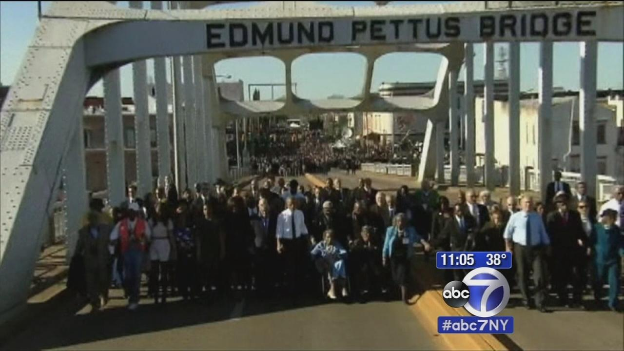 Selma milestone marked by Obama; Hundreds march across Brooklyn Bridge in solidarity