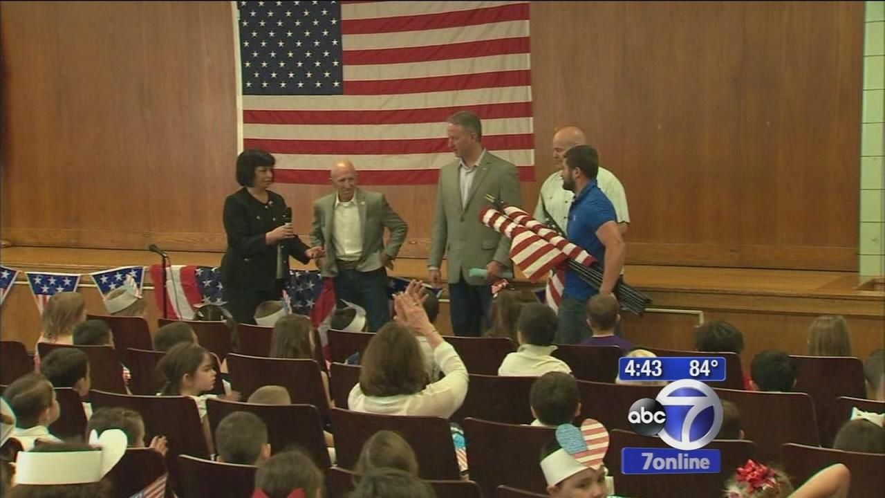 Brooklyn school gets flags donated after Superstorm Sandy