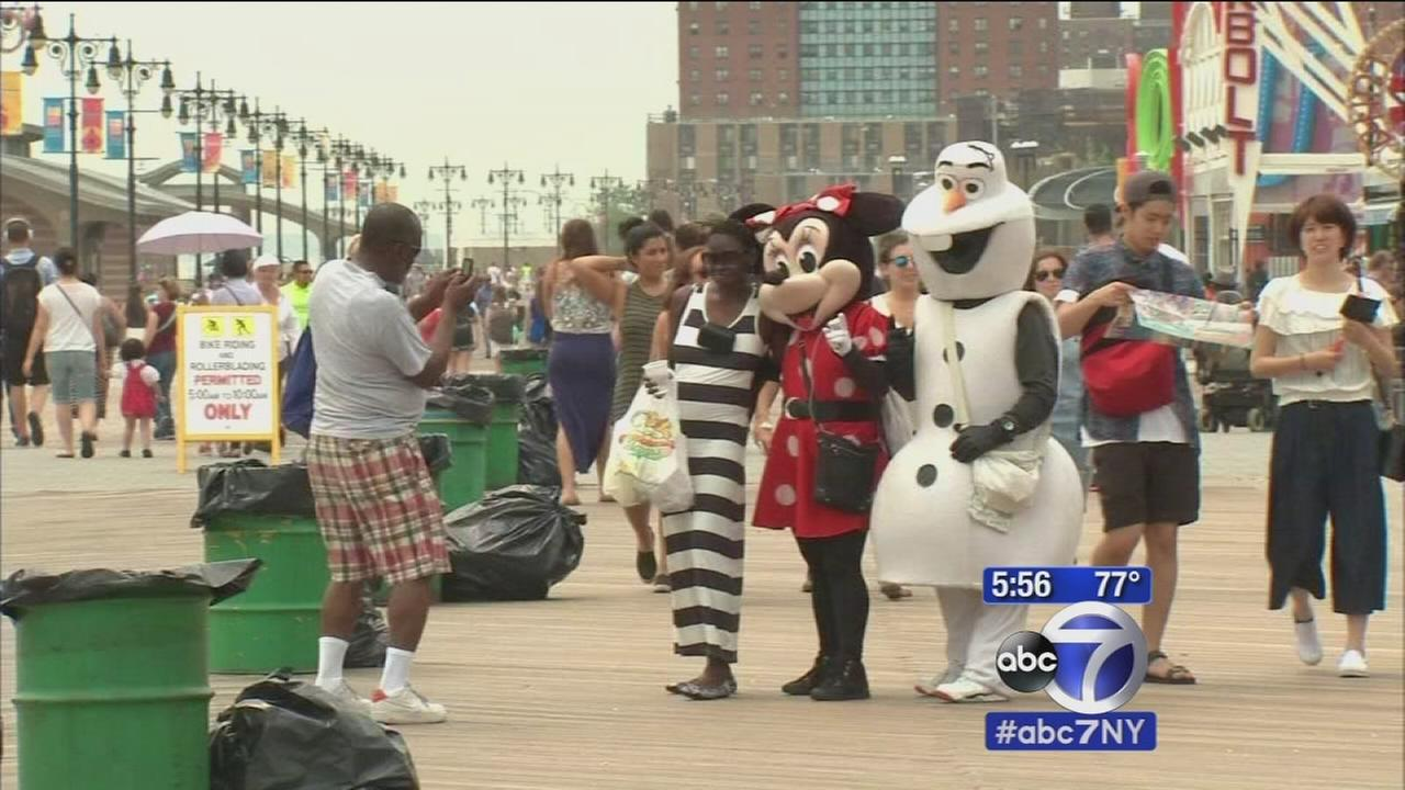 Run out of Times Square, costumed characters take up residence on Coney Island