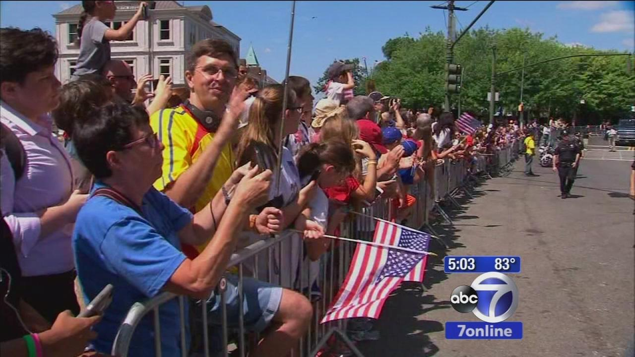 Fans gather by the thousands to cheer on US Womens Soccer team
