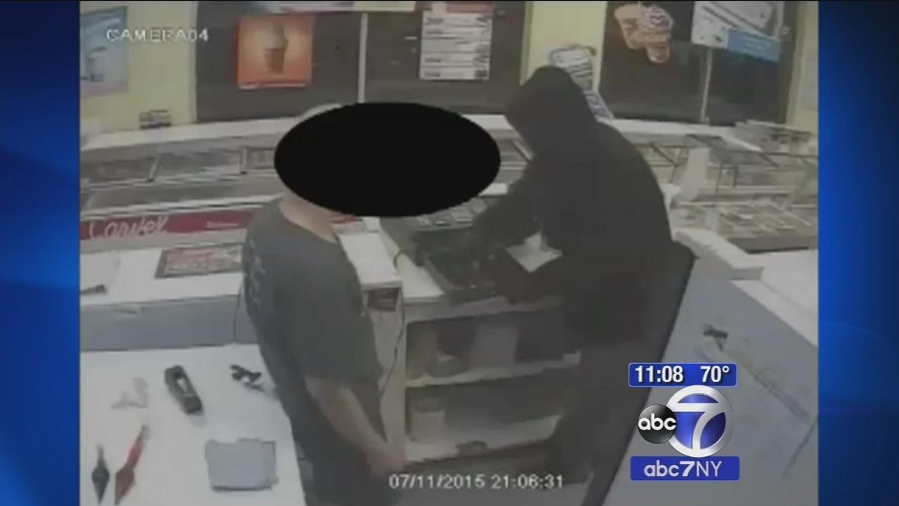 Suspect caught on camera robbing Carvel on Long Island