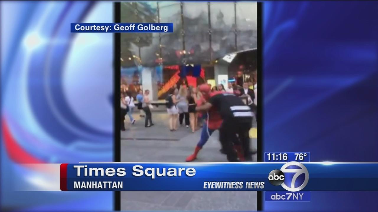 Spider-Man caught on camera battling man in Times Square