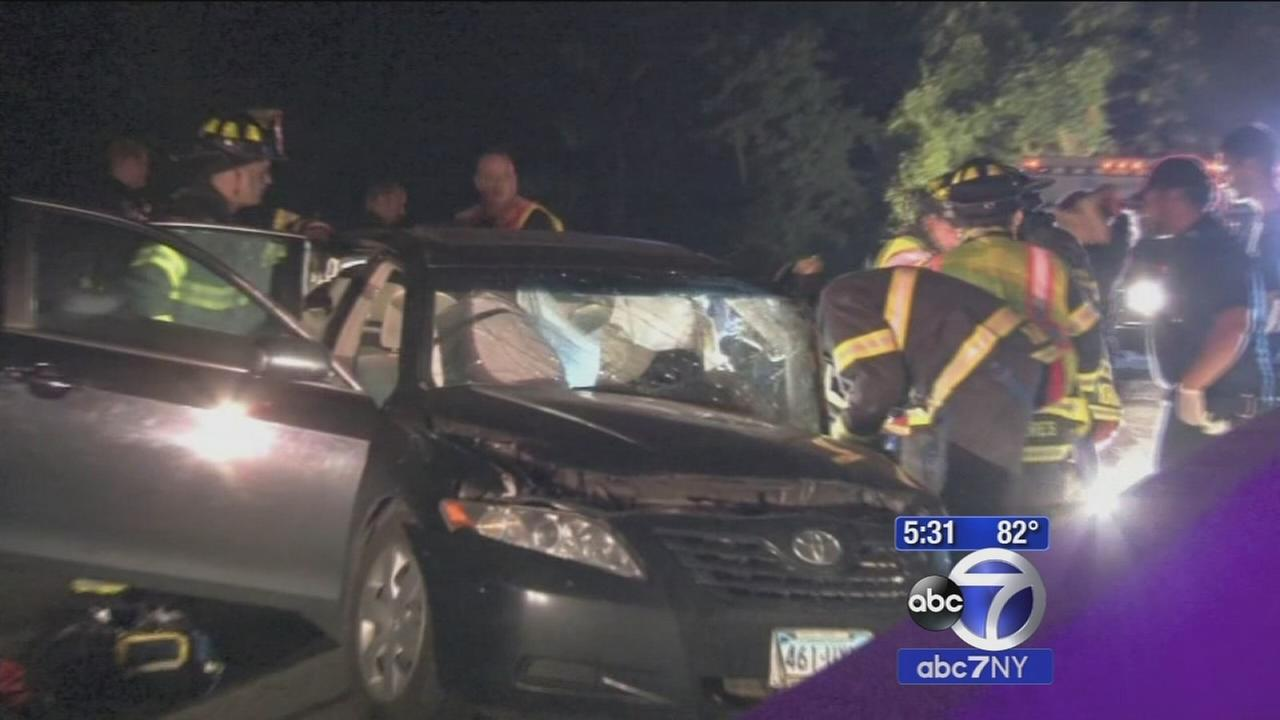 Woman driving wrong way on Saw Mill crashes into car