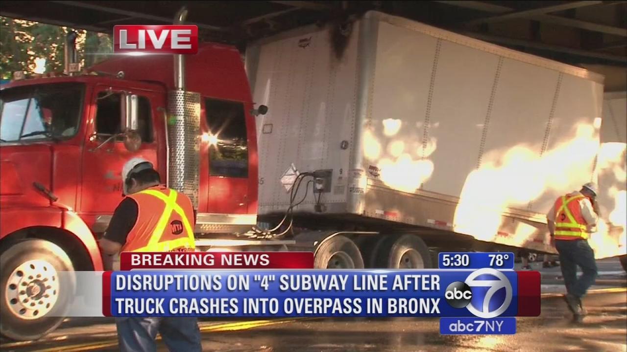 Truck crash under 4 subway in the Bronx
