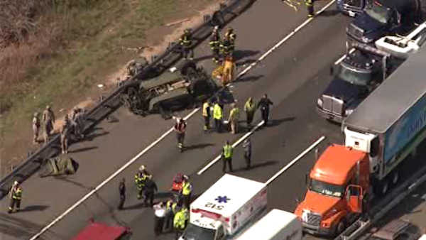 Military vehicle overturns on NJ Turnpike in South Brunswick