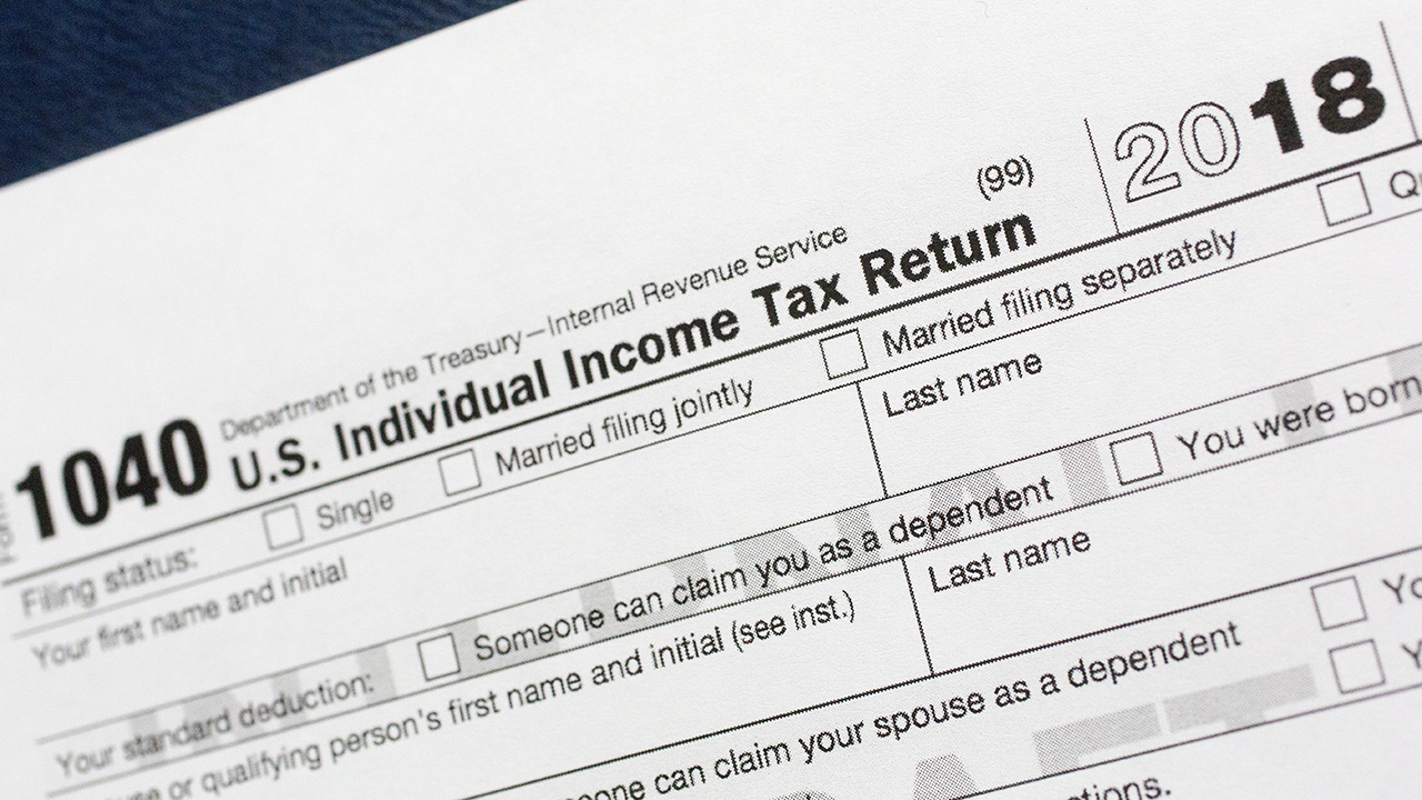 File photo shows a portion of the 1040 U.S. Individual Income Tax Return form for 2018 in New York.