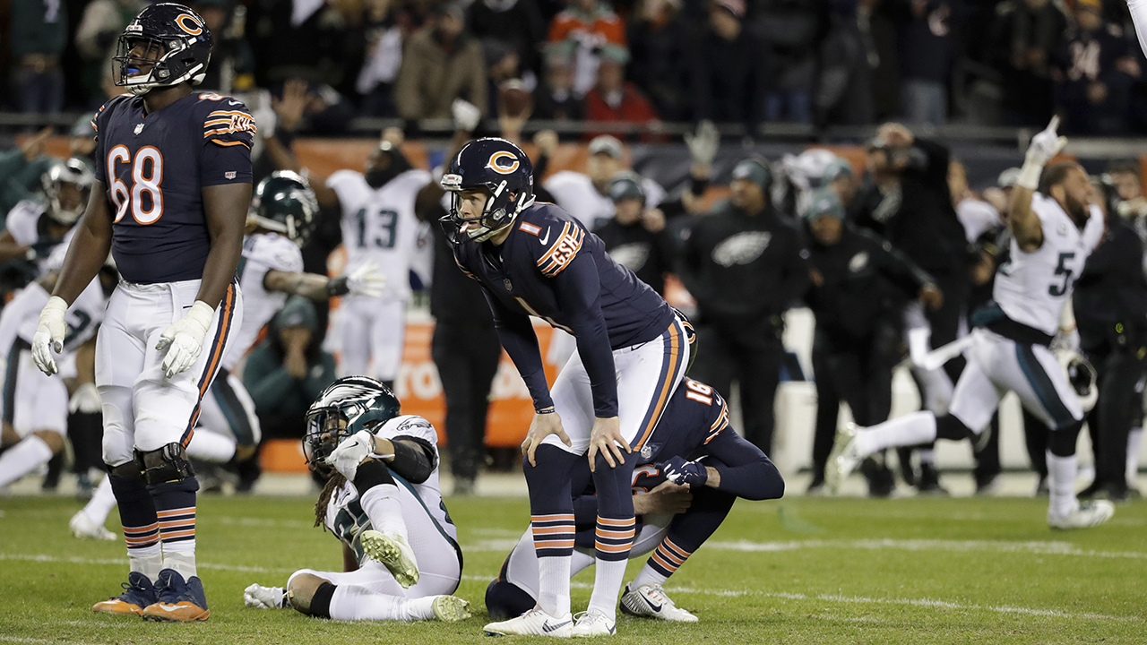 Chicago Bears kicker Cody Parkey reacts after missing a field goal in the closing minute during the second half of an NFL playoff game against the Philadelphia Eagles.
