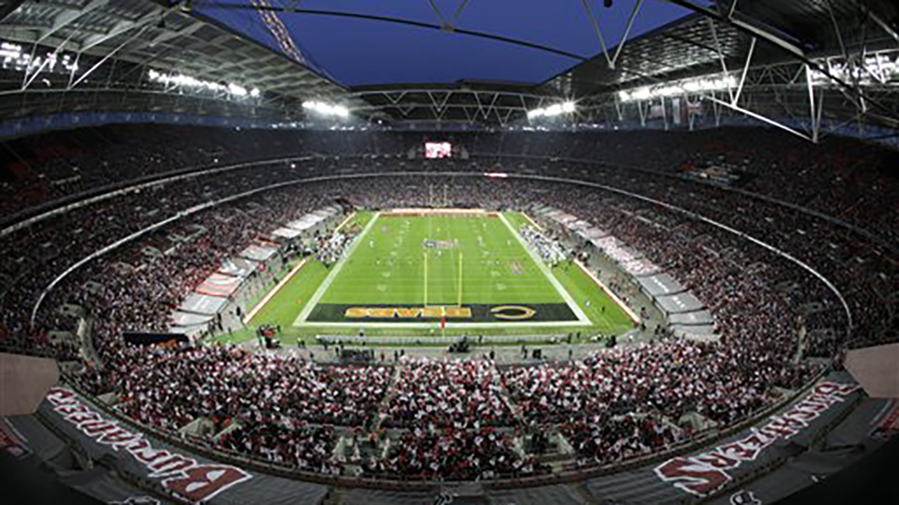 In this Sunday, Oct. 23, 2011 file photo Tampa Bay Buccaneers and Chicago Bears play during the first half of an NFL football game at Wembley Stadium in London.