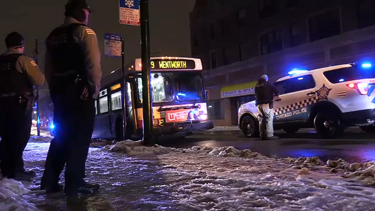 Police investigate after gunshots were fired onboard a CTA bus in the Chatham neighborhood Tuesday night.