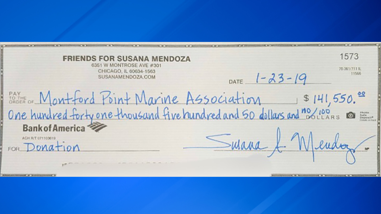 A check from Chicago mayoral candidate Susana Mendozas campaign to an Englewood veterans group.
