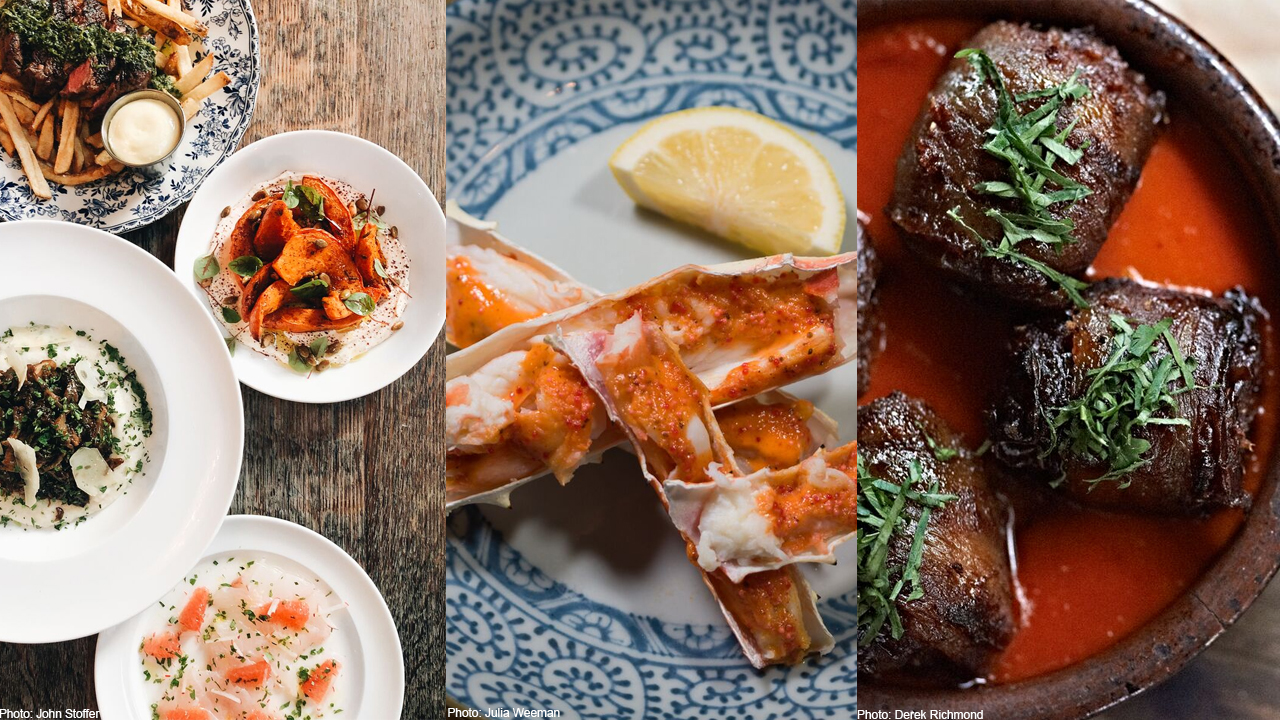 From left to right: The Allis Restaurant Week menu, king crab from Arami, chorizo-stuffed dates from avec