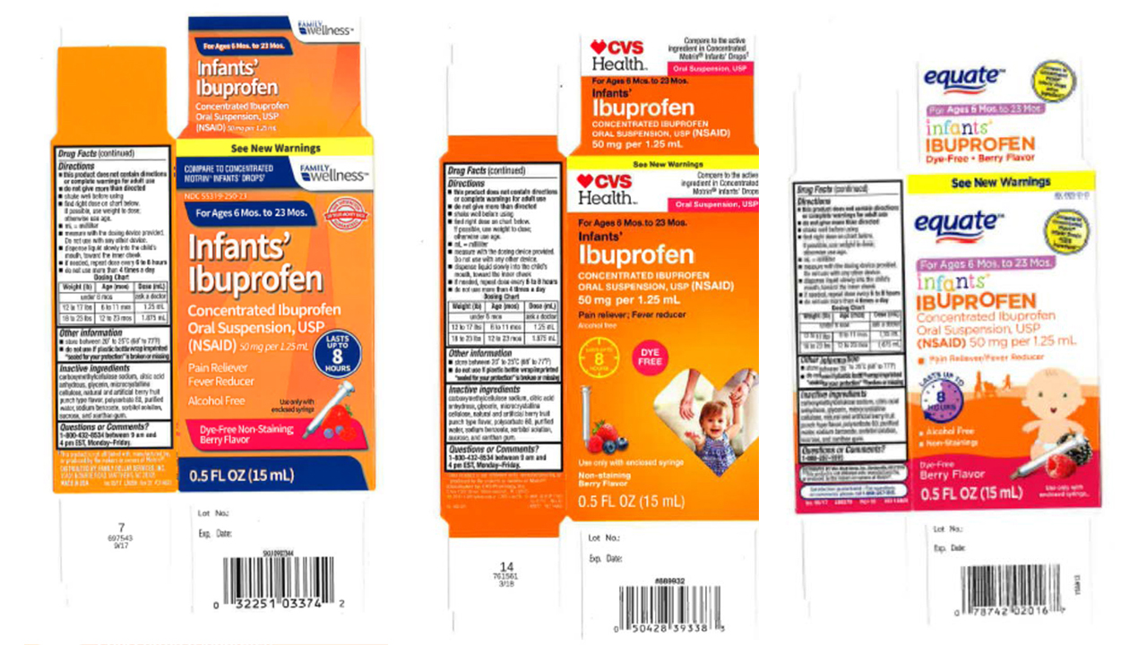 The three infant ibuprofen oral suspension products voluntarily recalled by Tris Pharma, Inc.