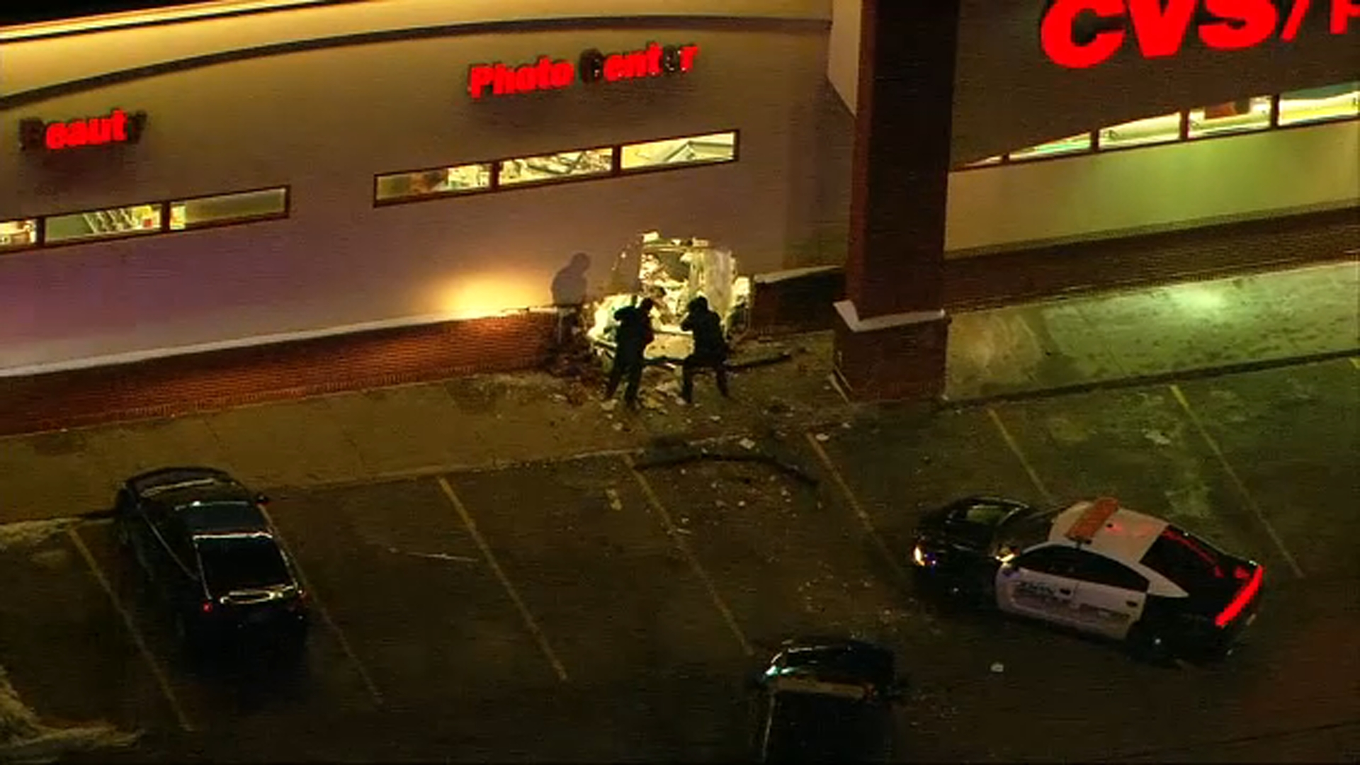 suv crashes into cop car  then cvs in zion