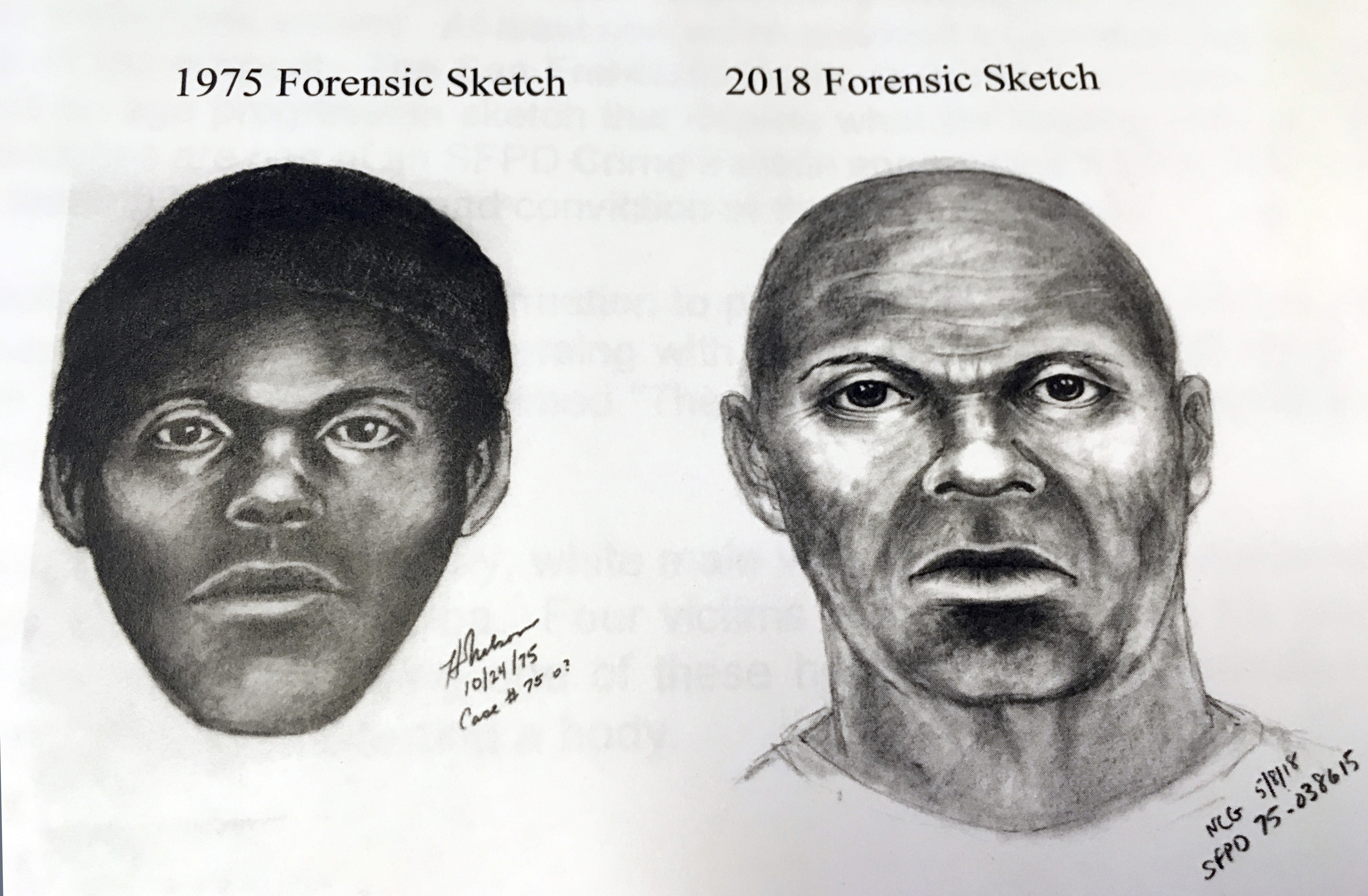 This pair of sketches provided by the San Francisco Police Department, Wednesday, Feb. 6, 2019, shows what a serial killer might look like now in a San Francisco cold case.
