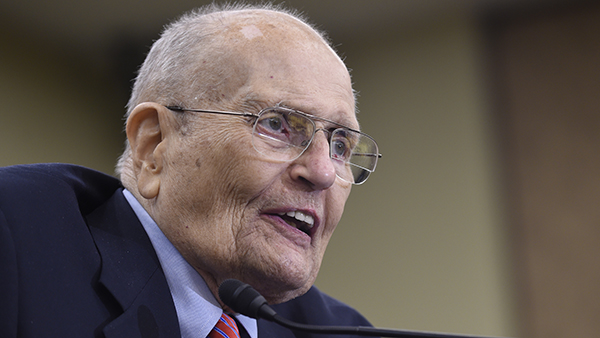 FILE - In this July 29, 2015 file photo, former Rep. John Dingell, D-Mich., speaks at an event marking the 50th Anniversary of Medicare and Medicaid on Capitol Hill in Washington.
