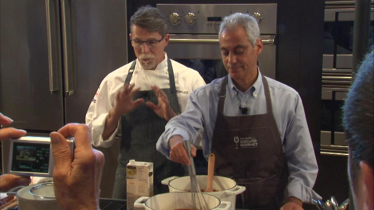 Mayor Rahm Emanuel got cooking at Chicagos Millennium Park Saturday when he helped prepare a mole sauce at the 8th annual Chicago Gourmet Festival.
