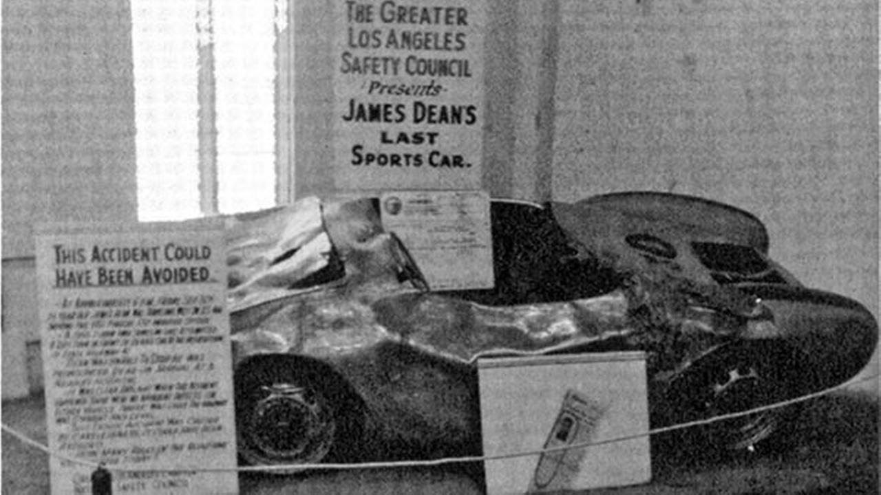 The wreckage of James Deans Porsche Spyder, on display as part of a highway safety exhibit. Dean was killed when he wrecked the car on Sept. 30, 1955.