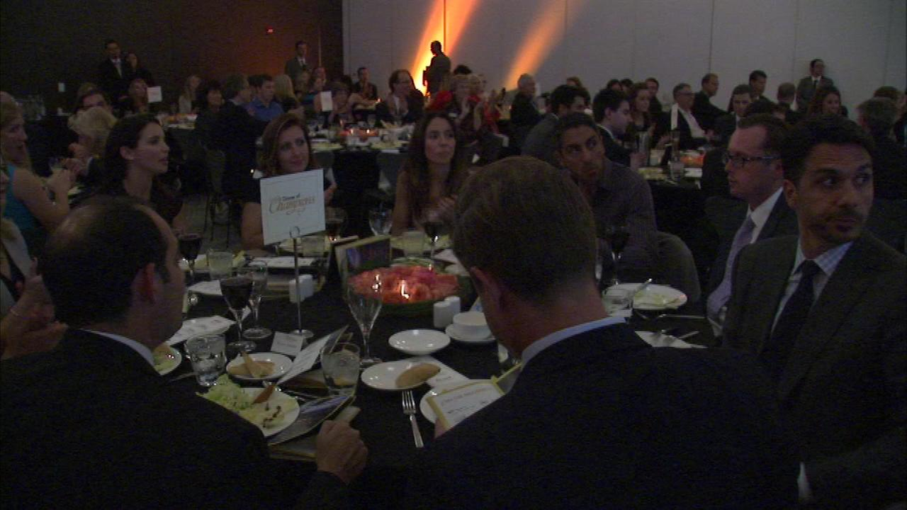 People used forks and knives to fight a debilitating illness at the National Multiple Sclerosis Societys annual MS Dinner of Champions Tuesday night.