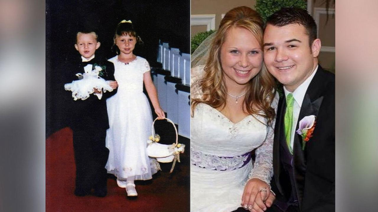 Adrian and Brooke Franklin married 17 years after walking down the aisle as ring bearer and flower girl.