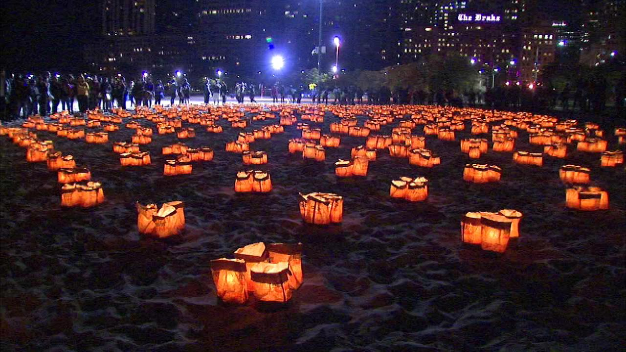 The 20th annual Light Up the Lakefront Luminaria took place Thursday night on Oak Street Beach.