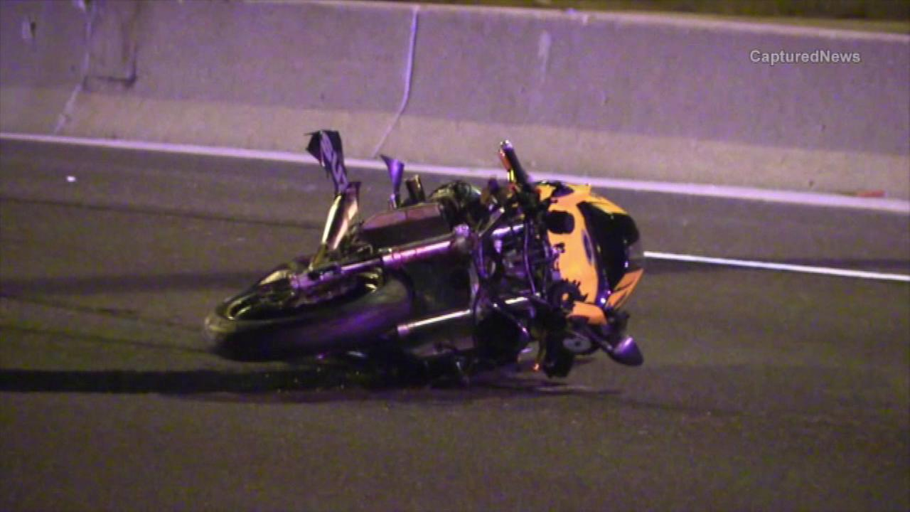 A motorcyclist has died after he was struck by a vehicle after hitting a deer on the Edens Expressway early Thursday morning near Northfield.