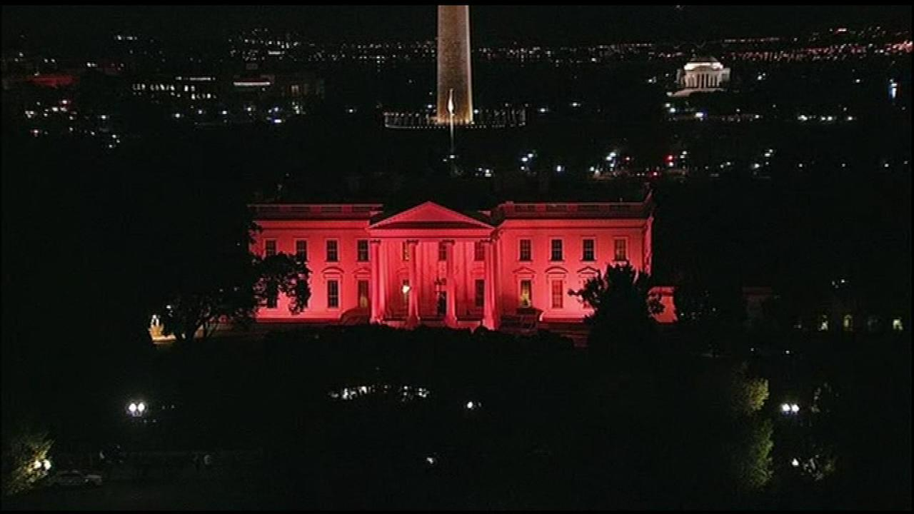 The White House became a pink house to show its support for Breast Cancer Awareness Month.
