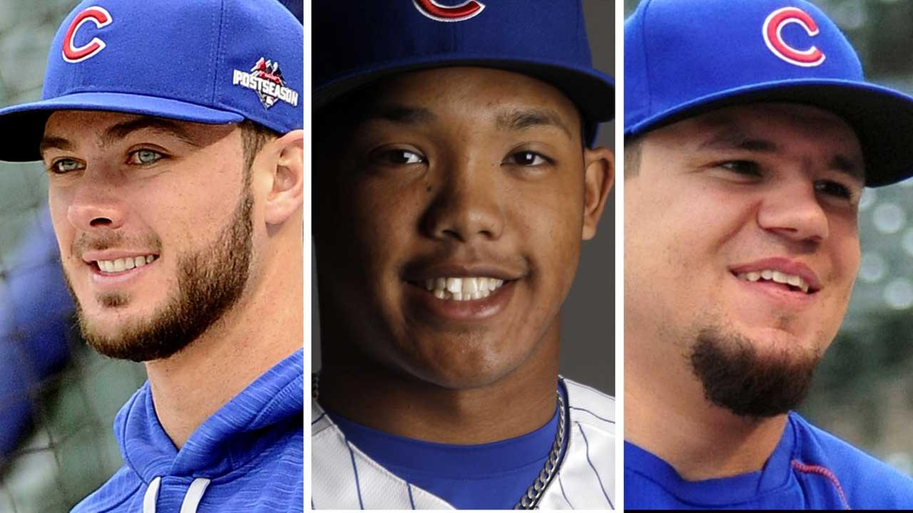 (FILE) Chicago Cubs Kris Bryant, Addison Russel and Kyle Schwarber.