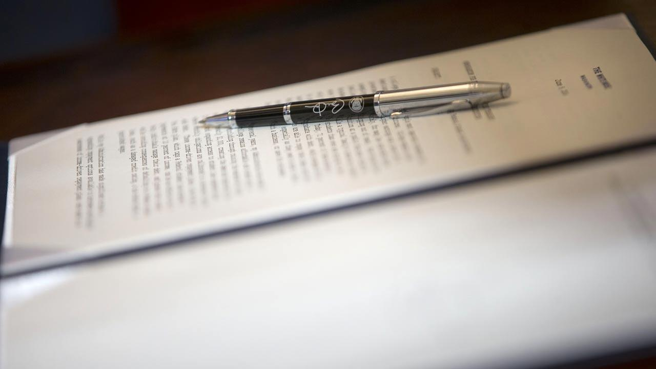 Close up the pen that President Barack Obama used to sign a Presidential Memorandum on reducing the burden of student loan debt, Monday, June 9, 2014.