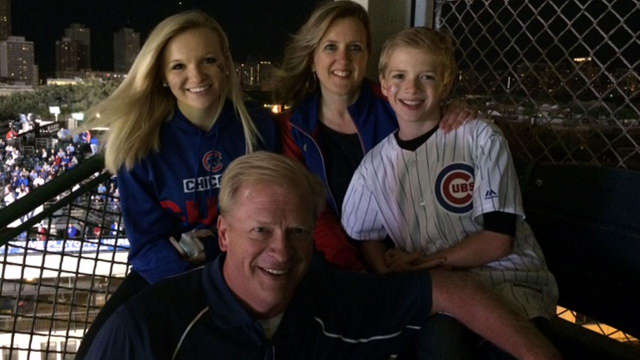 Sheri Emmert, her husband, Dave, and two of their children, Claire, 17, and Caden, 10, at Wrigley Field on October 22, 2015.