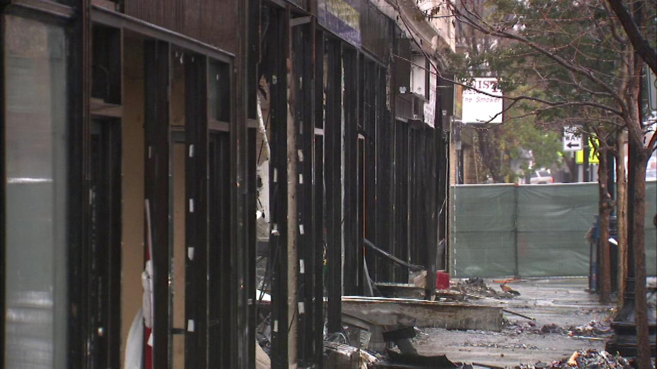 The fire that destroyed a Chicago dry cleaners Friday is still causing problems for firefighters Saturday.