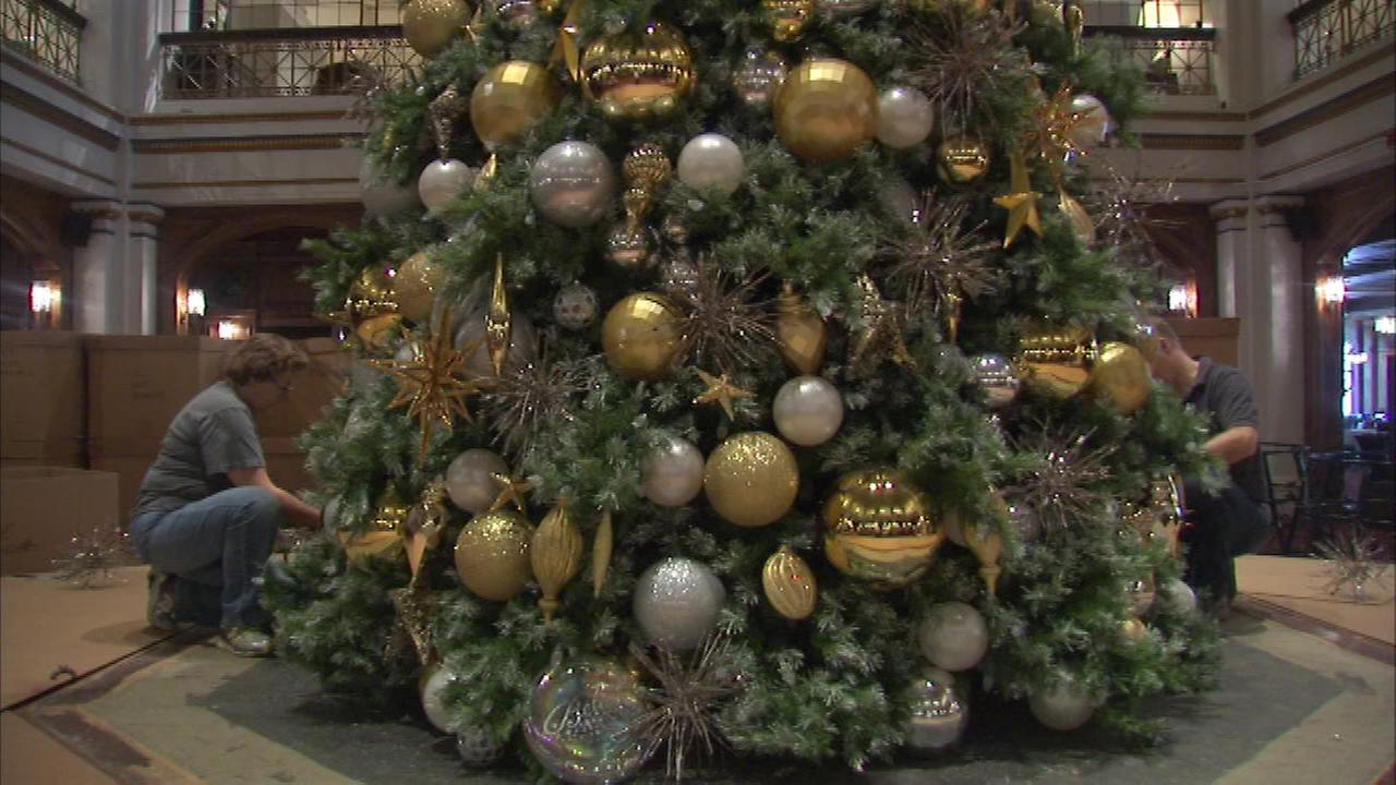 Christmas tree goes up at Macy's Walnut Room