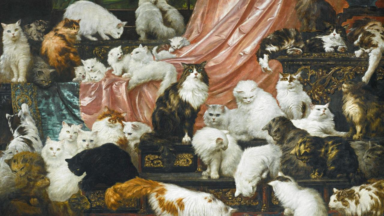 Nineteenth century painting My Wifes Lovers, dubbed the worlds largest cat painting, was sold at a Sothebys New York auction for $826,000 on Nov. 3, 2015.