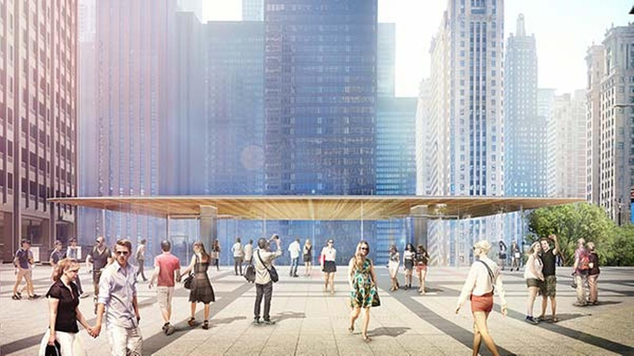 A rendering of a future Apple store connecting the Riverwalk and Pioneer Court plaza in downtown Chicago.