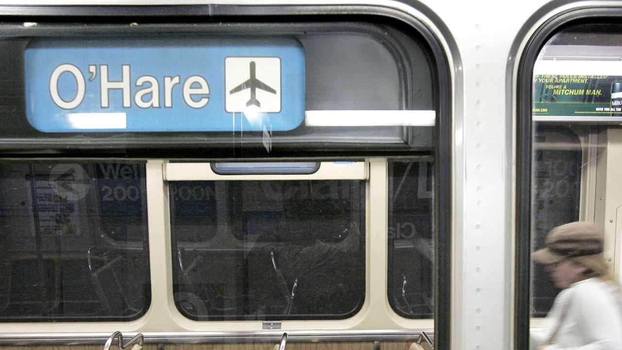 (FILE) A CTA Blue Line train to OHare.