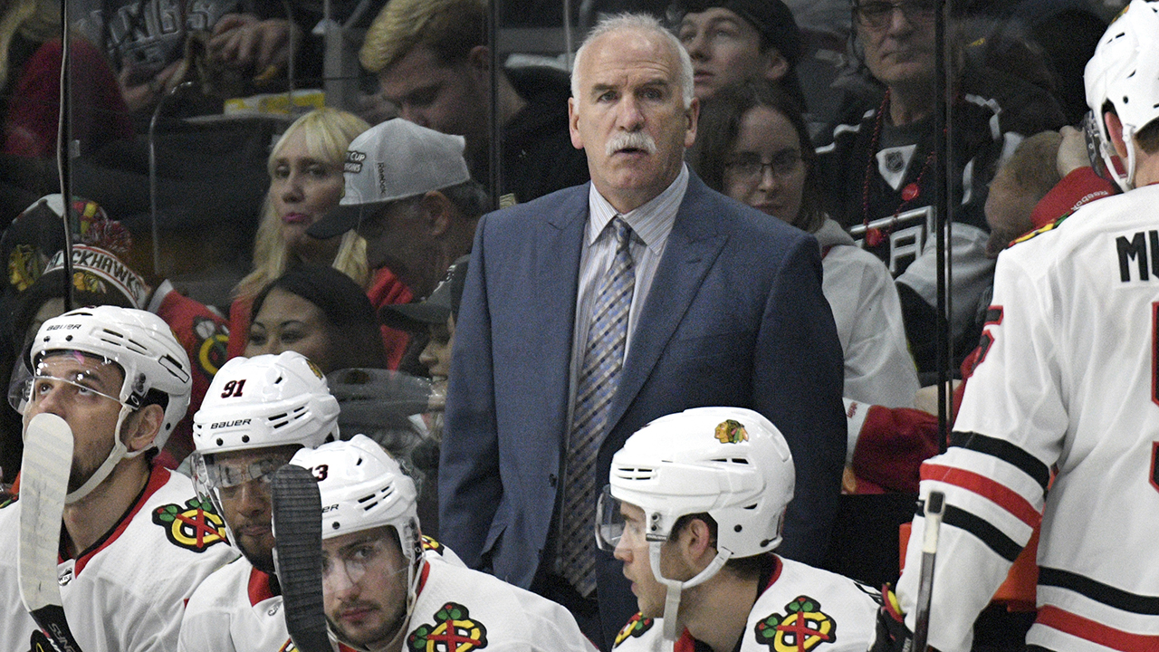 Chicago Blackhawks head coach Joel Quenneville during an NHL hockey game against the Los Angeles Kings, Saturday, March 3, 2018, in Los Angeles.
