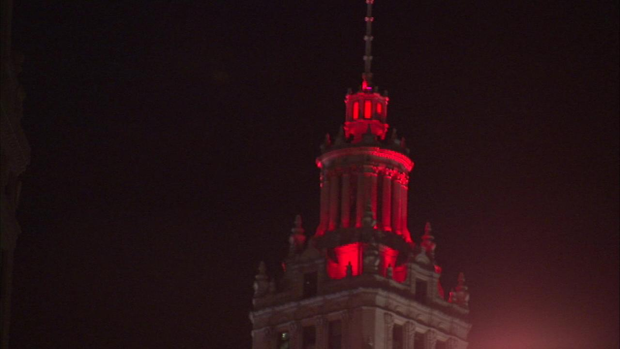 The Wrigley Building was lit up red on in honor of World AIDS Day.